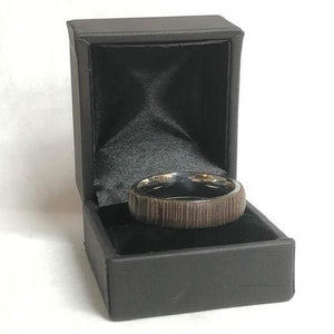 wood ring, thomas fine woodworks, wenge, wenge ring, comfort fit, stainless steel ring, exotic hardwood