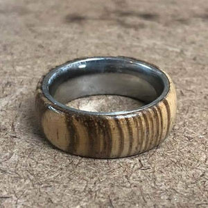 Wood and Stainless Steel Comfort-Fit Rings, Zebrawood