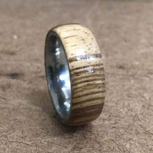 Load image into Gallery viewer, Wood and Stainless Steel Comfort-Fit Rings, Zebrawood