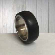 Load image into Gallery viewer, Wood and Stainless Steel Comfort-Fit Rings, African Blackwood