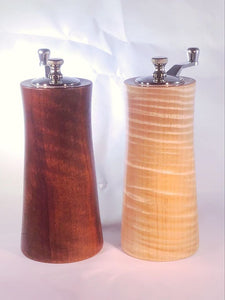 6 Inch Crank Top Salt and Pepper Grinder Set, Black Walnut and Curly Maple
