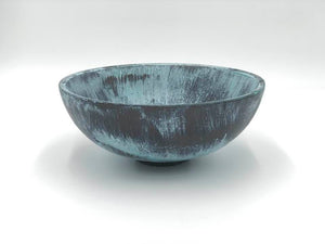 Wood Bowl: Bronze with Blue Patina