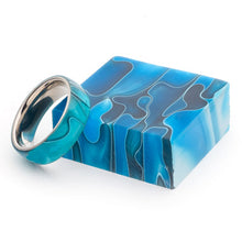 Load image into Gallery viewer, Acrylic and Stainless Steel Comfort-Fit Rings, Caribbean Swirl