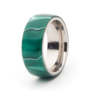 Acrylic and Stainless Steel Comfort-Fit Rings, Jade Swirl
