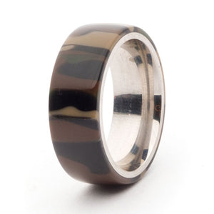 Acrylic and Stainless Steel Comfort-Fit Rings, Woodland Camo