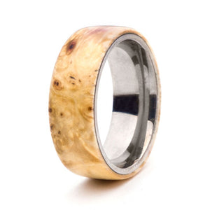 Wood and Stainless Steel Comfort-Fit Rings, Box Elder Burl
