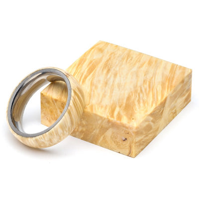 Wood and Stainless Steel Comfort-Fit Rings, Maple Burl