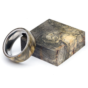 Wood and Stainless Steel Comfort-Fit Rings, Buckeye Burl