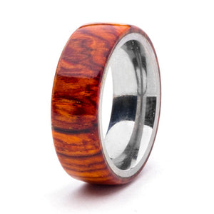 Wood and Stainless Steel Comfort-Fit Rings, Cocobolo