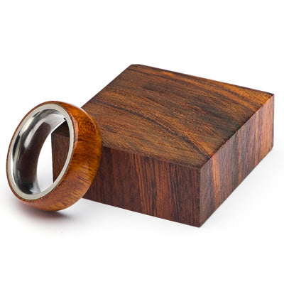 Wood and Stainless Steel Comfort-Fit Rings, Desert Ironwood