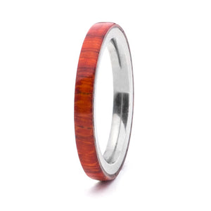 Wood and Stainless Steel Comfort-Fit Rings, Padauk