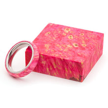 Load image into Gallery viewer, Wood and Stainless Steel Comfort-Fit Rings, Pink Dyed Box Elder Burl