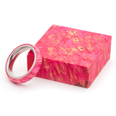Wood and Stainless Steel Comfort-Fit Rings, Pink Dyed Box Elder Burl