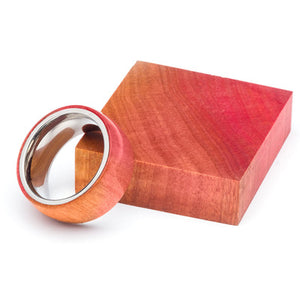 Wood and Stainless Steel Comfort-Fit Rings, Pink Ivory