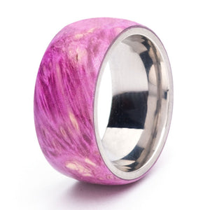 Wood and Stainless Steel Comfort-Fit Rings, Purple Dyed Box Elder Burl
