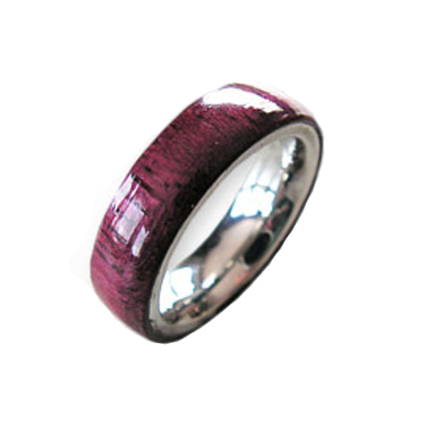 Wood and Stainless Steel Comfort-Fit Rings, Purpleheart