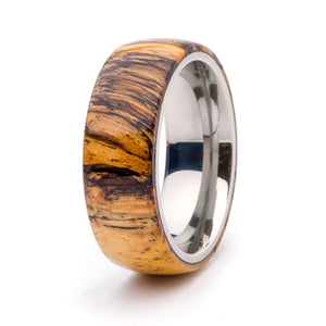 Wood and Stainless Steel Comfort-Fit Rings, Spalted Tamarind