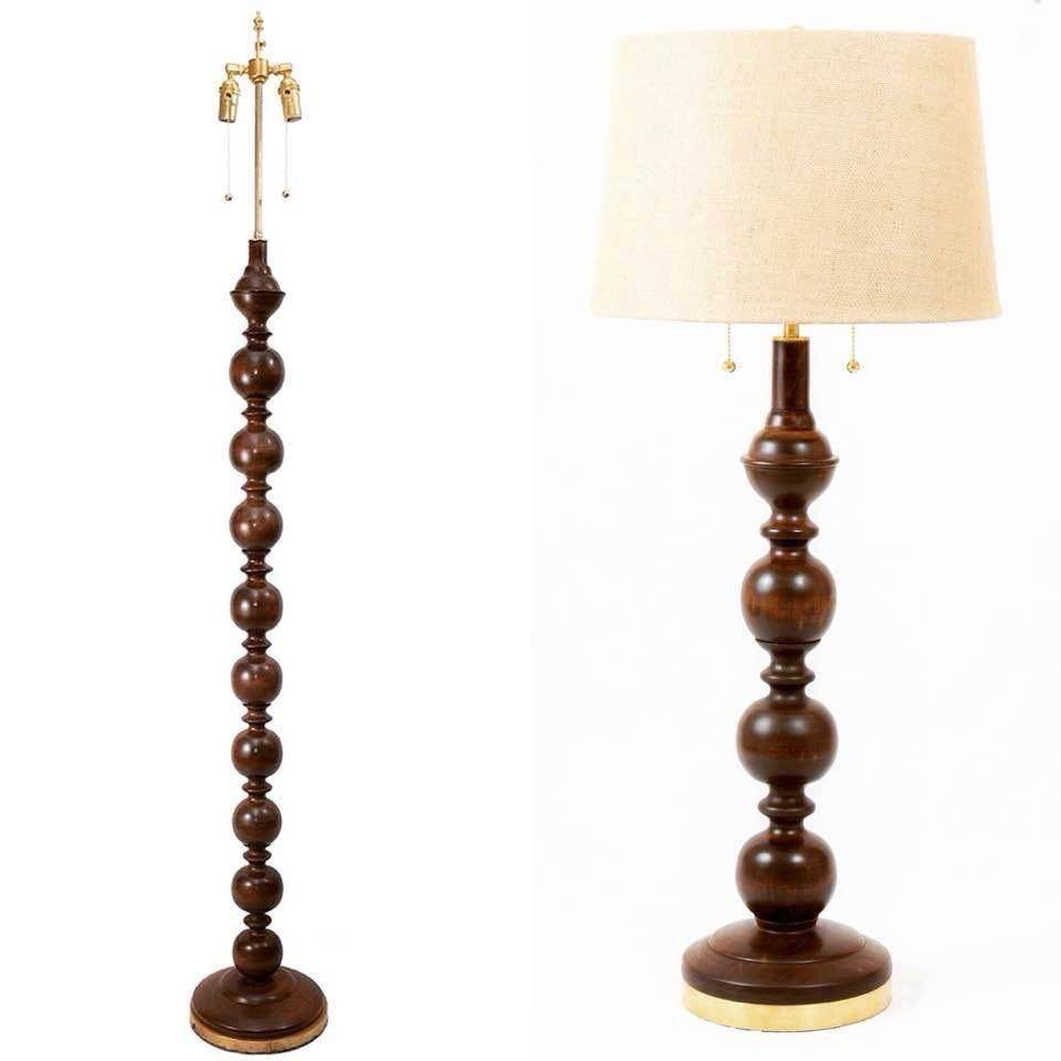 Cherry Floor and Table Lamp Set (2 table lamps, 1 floor lamp), Handmade
