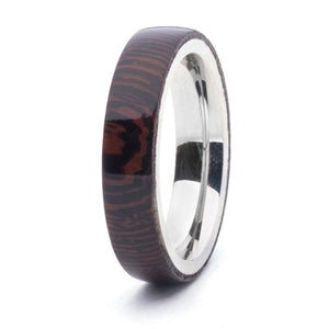 Wood and Stainless Steel Comfort-Fit Rings, Wenge