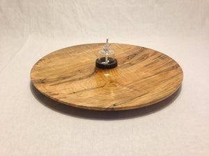 14-in. Hand Turned Ambrosia Maple Platter with Hand blown Glass Oil Lamp