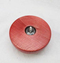 Load image into Gallery viewer, Handmade, Curly Maple Wood Oil Lamp, Red, Refillable Hand Blown Glass Reservoir