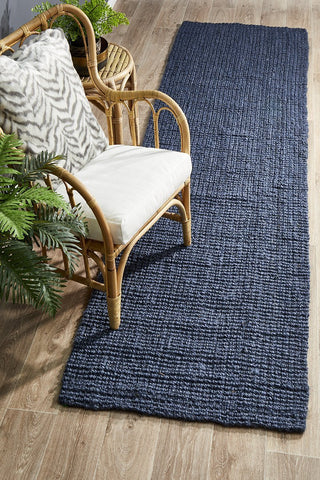 Costa Basket Navy Blue Runner Rug