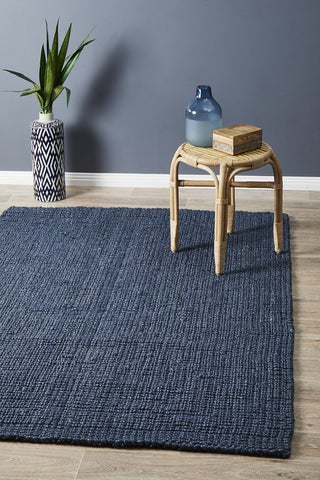 Costa Basket Navy Blue Rug