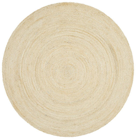 Costa Oro Round Jute Natural Bleach Rug