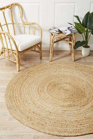 Costa Oro Round Jute Natural Rug