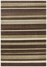 Ibiza Stylish Stripe Brown Beige Rug