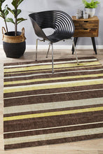 Ibiza Stylish Stripe Brown Green Rug