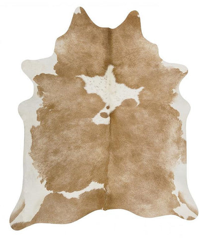 Natural Cow Hide Beige White Rug