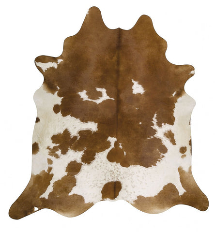 Natural Cow Hide Brown White Rug