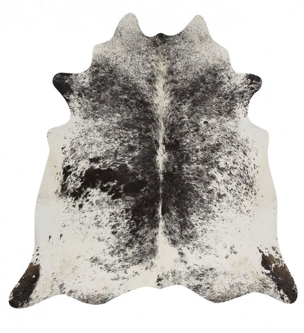 Natural Cow Hide Salt & Pepper Black Rug
