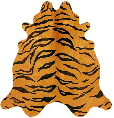 Natural Cow Hide Tiger Print Rug