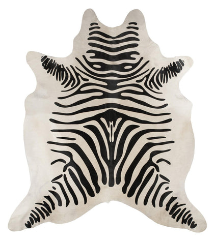 Natural Cow Hide Zebra Print Rug