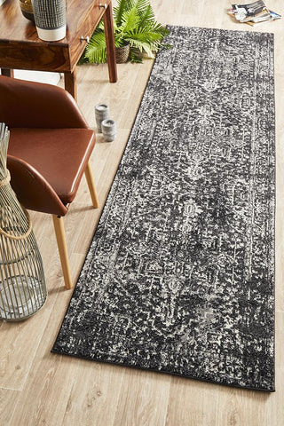 Aurora Scape Charcoal Transitional Runner Rug