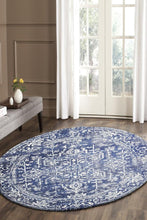 Evoke Contrast Navy Transitional Round Rug