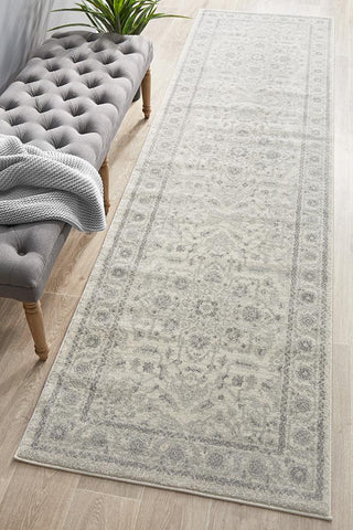 Aurora Silver Flower Transitional Runner Rug
