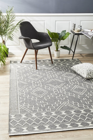 Tulum Beach Bohemian Chic Grey Rug