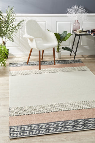Tulum Textured Woven White Peach Rug