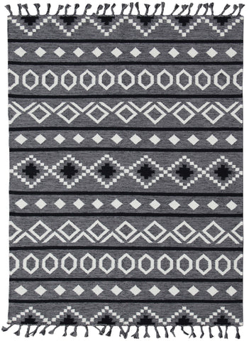 Veeraa Artifact Grey Handwoven Flat Weave Rug