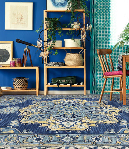 Veeraa Boho Steel Blue Hand Tufted Wool rug