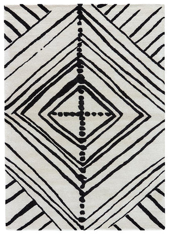 Veeraa Hand Tufted Wool White and Black Rug
