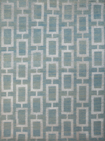 Veeraa Maya Steel Blue Hand Knotted Wool and Art Silk Rug