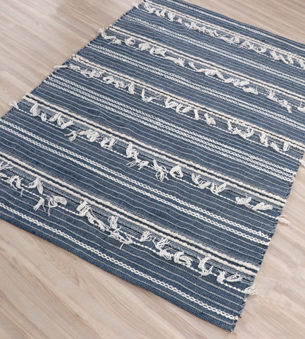 Veeraa Noir Tribal Hand Woven Wool Blue Denim Rug