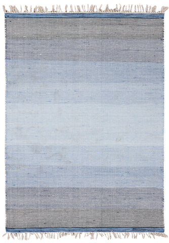 Veeraa Ombre Blue Hand Woven Wool Multicolour Rug
