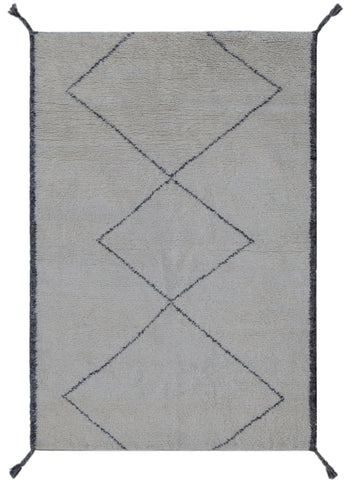 Veeraa Sachi Hand Knotted Moroccan Wool Ivory Grey Rug
