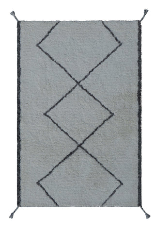 Veeraa Safeyaa Tufted Shaggy Moroccan Wool Ivory Grey Rug