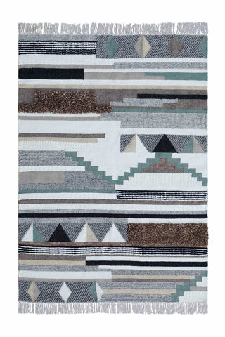 Veeraa Adi Handwoven Wool Multicolour Ivory Grey Rug